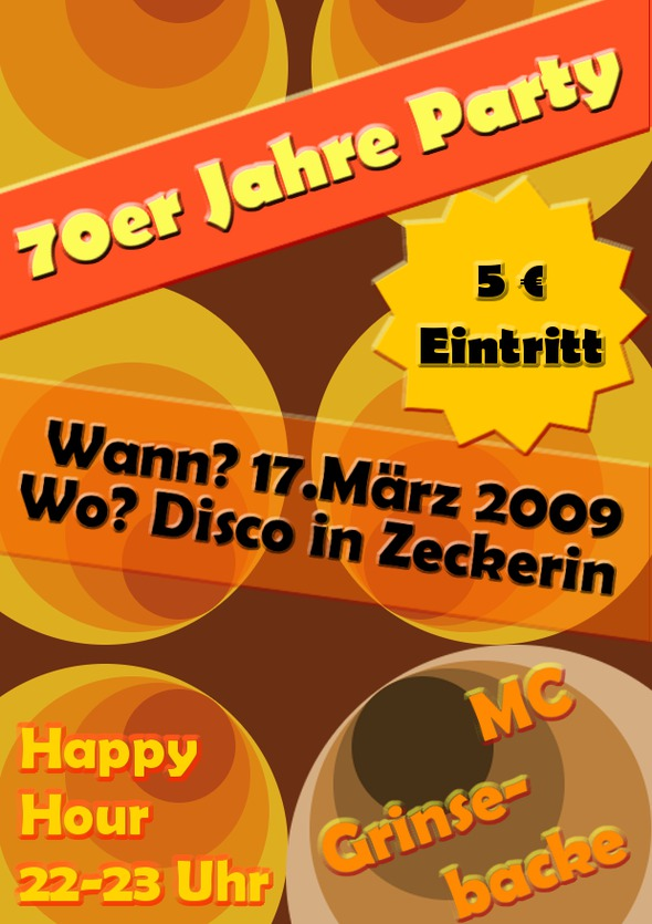70er jahre party flyer einen coolen party flyer gestalten. Black Bedroom Furniture Sets. Home Design Ideas
